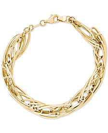 Polished Oval Twist Bracelet in 14k Gold