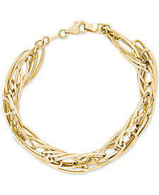 Polished Oval Twist Bracelet in 14k Gold