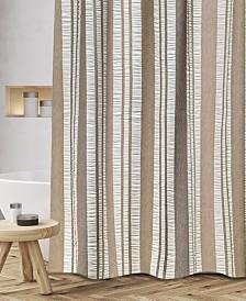 """Popular Bath Oxford Cotton Textured Stripe 72"""" x 72"""" Shower Curtain"""