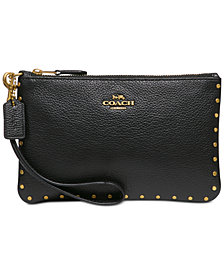 COACH Border Rivets Wristlet in Polished Pebble Leather