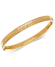 Patterned Bangle Bracelet in 10k Gold