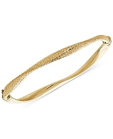 Wavy Hinged Bangle Bracelet in 10k Gold