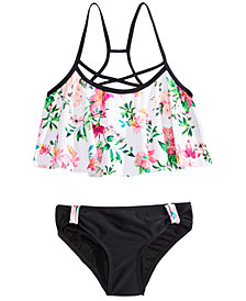 Summer Crush Big Girls 2-Pc. Floral-Print Bikini Swimsuit