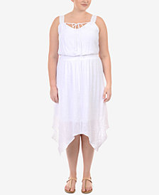 NY Collection Plus Size Handkerchief-Hem Peasant Dress