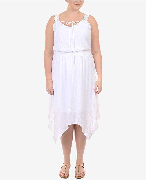 Plus Size Handkerchief-Hem Peasant Dress