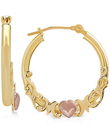 Mom Heart Hoop Earrings in 10k Gold & Rose Gold