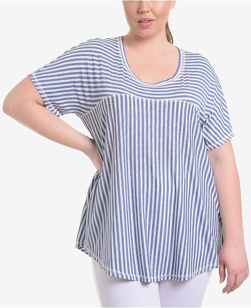 14c44457d6a51d NY Collection Plus Size Striped High-Low Swing Top & Reviews - Tops ...