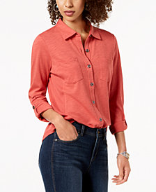 Style & Co Petite Button-Down Roll-Tab Shirt, Created for Macy's