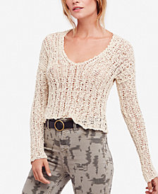 Free People Beach Comber Cotton V-Neck Sweater