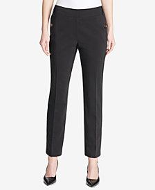 Calvin Klein Buttoned-Pocket Straight-Leg Pants