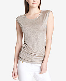 Calvin Klein Metallic Button-Trim Top