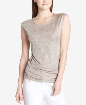 METALLIC BUTTON-TRIM TOP