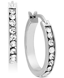 Essentials Silver Plated Small Crystal Hoop Earrings