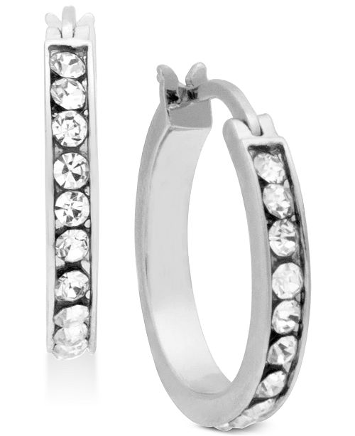 Essentials Silver Plated Small Crystal Small Hoop Earrings  s