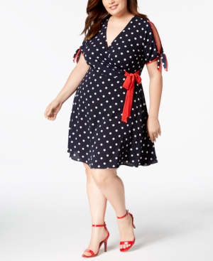 Polka Dot Dresses: 20s, 30s, 40s, 50s, 60s Plus Size Polka Dot Faux-Wrap Dress $53.10 AT vintagedancer.com