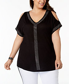 I.N.C. Plus Size Cold-Shoulder Studded Top, Created for Macy's