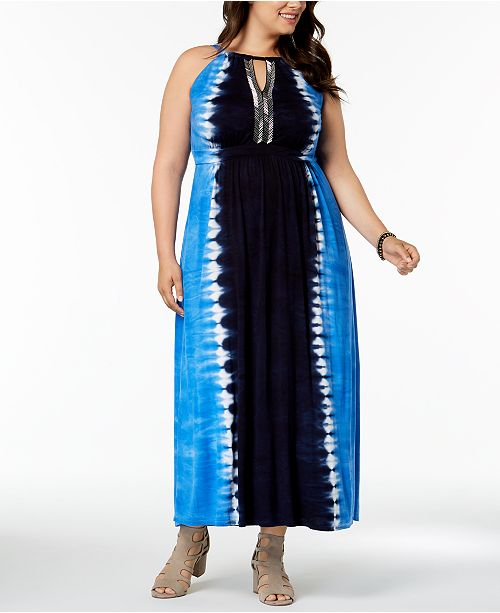 INC Plus Size Tie-Dyed Maxi Dress , Created for Macy\'s