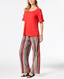 JM Collection Tie-Sleeve Top & Striped Pants, Created for Macy's