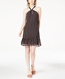 Maison Jules Leaf-Print Halter Dress, Created for Macy's