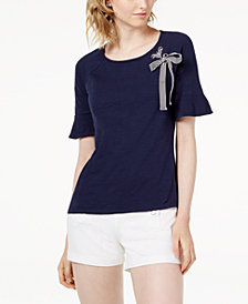 Maison Jules Cotton Grommet & Ribbon Top, Created for Macy's