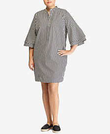 Lauren Ralph Lauren Plus Size Striped Cotton Shift Dress