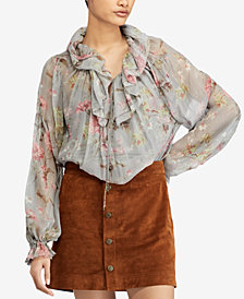 Polo Ralph Lauren Sheer Floral-Print Blouse