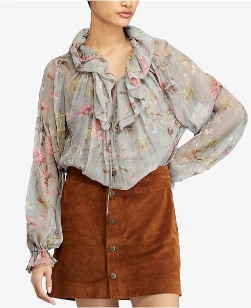 c7813ff2 Polo Ralph Lauren Sheer Floral-Print Blouse & Reviews - Tops ...