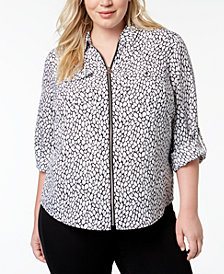 MICHAEL Michael Kors Plus Size Animal-Print Zip-Front Shirt