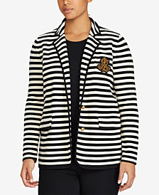 Lauren Ralph Lauren Plus Size Striped Cotton Blazer