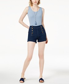 Maison Jules Fitted Tank Top & Sailor-Style Denim Shorts, Created for Macy's