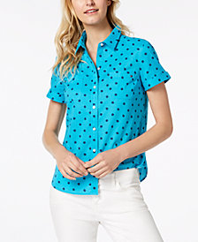 Tommy Hilfiger Cotton Printed Button-Up Shirt, Created for Macy's