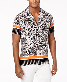 I.N.C. Men's Multi-Print Camp Collar Shirt, Created for Macy's