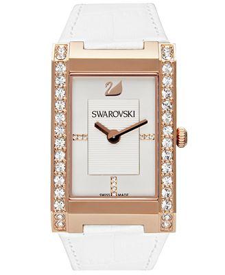 Swarovski Watch, Women's Swiss Citra White Croc Embossed Leather Strap 1094370