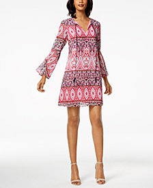 Vince Camuto Tile-Print Bell-Sleeve Dress