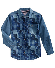Tommy Hilfiger Big Boys Kendrick Printed Cotton Denim Shirt