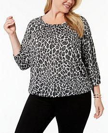 MICHAEL Michael Kors Plus Size Floral Leopard-Print Peasant Top