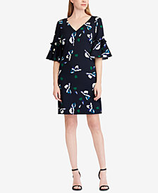 Lauren Ralph Lauren Crepe Bell-Sleeve Dress