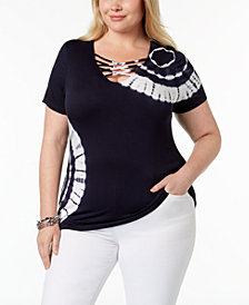 I.N.C. Plus Size Crisscross-Strap Tie-Dyed Top, Created for Macy's