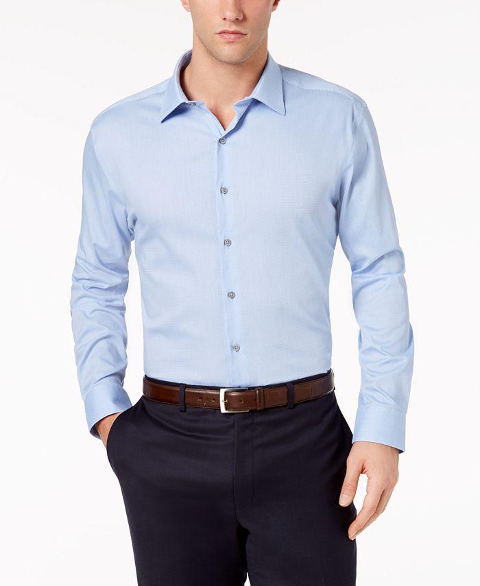 Alfani - Men's Alfa Tech Fitted Performance Stretch Step Twill Textured Dress Shirt