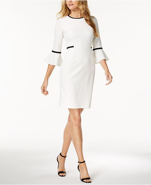 7385d80f Calvin Klein Petite Piped Bell-Sleeve Sheath Dress & Reviews ...