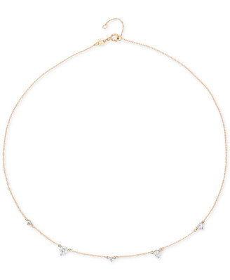"Diamond Droplet Collar Necklace (1/4 Ct. T.W.) In 14k Gold, 15"" + 1"" Extender, Created For Macy's by Elsie May"