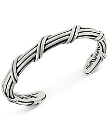 Overlap Cuff Bangle Bracelet in Sterling Silver