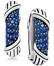Sapphire Hoop Earrings (5/8 ct. t.w.) in Sterling Silver