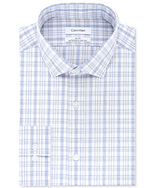 Calvin Klein Men's STEEL Slim-Fit Non-Iron Stretch Performance Blue Check Dress Shirt