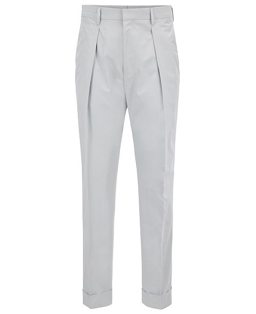 Hugo Boss BOSS Men's Relaxed-Fit Cropped Cotton Trousers