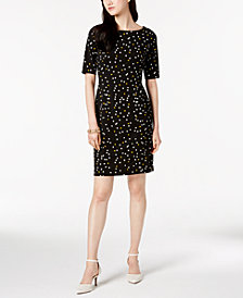 Alfani Petite Ponté-Knit Printed Dress, Created for Macy's