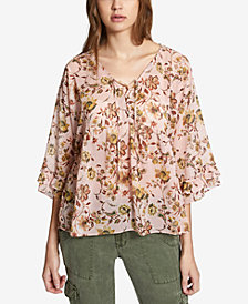 Sanctuary Desert Floral-Print Lace-Up Top