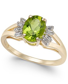 Peridot (1-1/2 ct. t.w.) & Diamond (1/8 ct. t.w.) Ring in 14k Gold