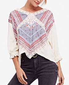 Free People Prairie Days Printed Lace-Trim T-Shirt