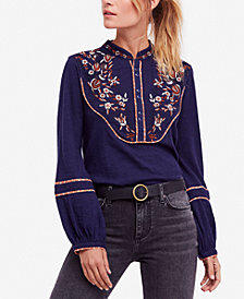 Free People Sundance Kid Embroidered Henley